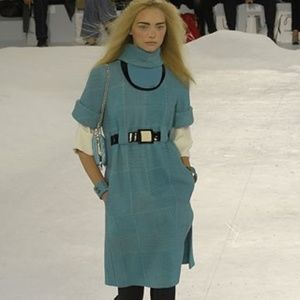 Chanel 07A Runway Blue Tweed Belted Dress